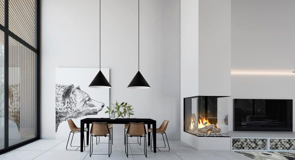 The Fireplace Is Glazed On Three Sides To Be Viewed From Both The Lounging  Area And The Dining Room, With The Solid Chimney Breast Creating A Shallow  Visual ...