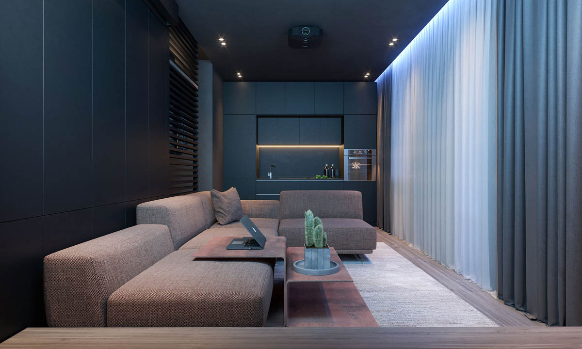 dark moody bachelor pad design  single bedroom lshaped examples  -   visualizer design rocks