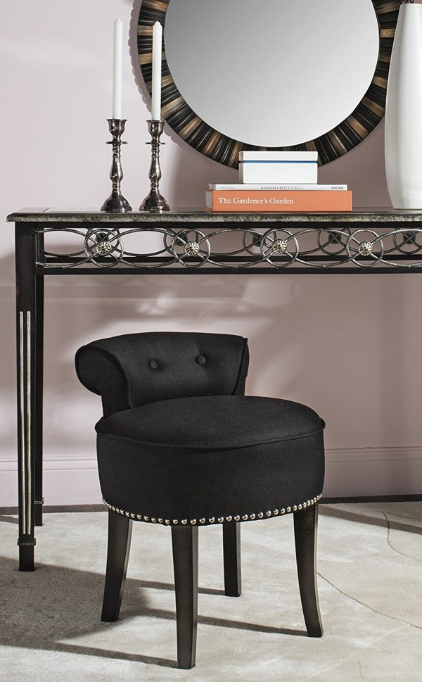Popular BUY IT Upholstered Black Vanity Stool