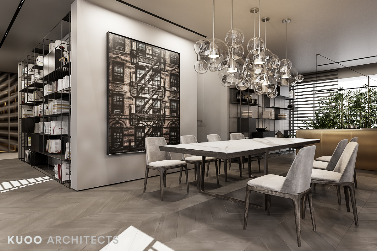 A luxury apartment with a double height ceiling - Dining room pendants ...