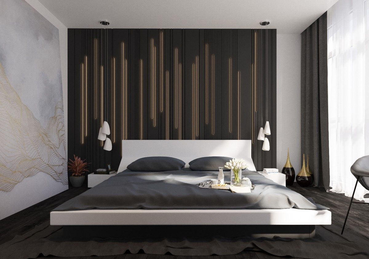 44 awesome accent wall ideas for your bedroom for Bed wall design