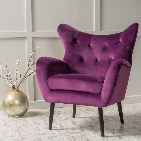 Simple BUY IT Purple Wingback Vanity Chair