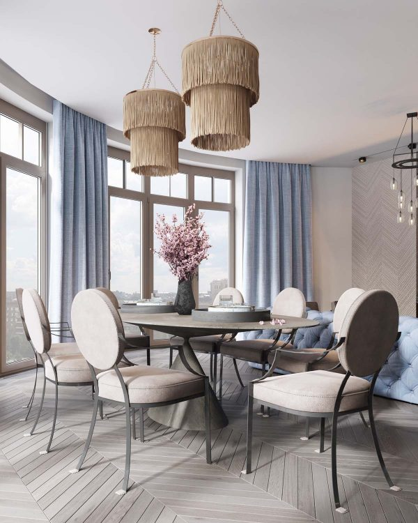 The dining room in this home is nestled among a few sweeping windows providing lots of natural illumination during the day at night dining room pendant