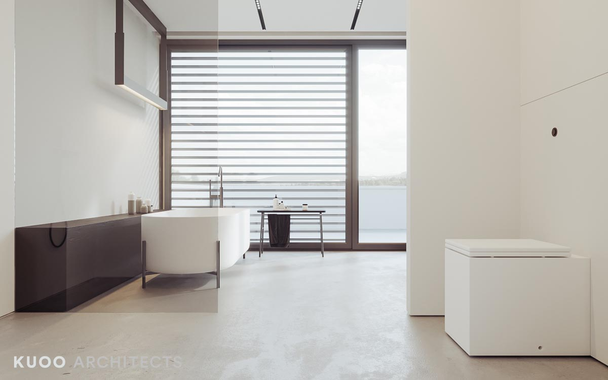 Two modern minimalist homes that indulge in lots of white for Sleek bathroom design