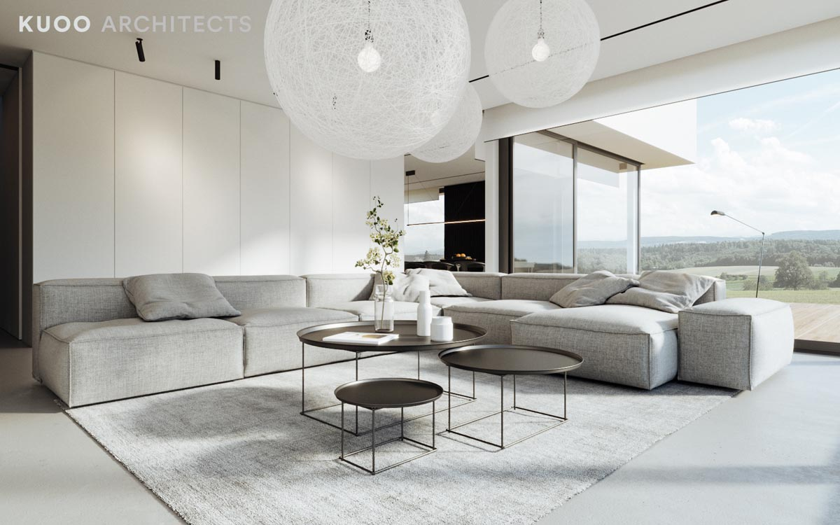 Two modern minimalist homes that indulge in lots of white for White minimalist living room