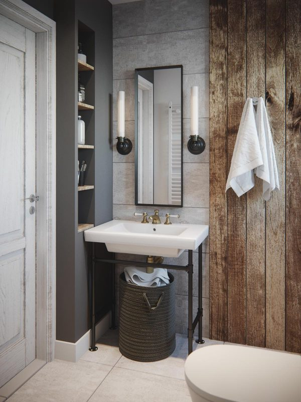 Coastal Bathroom Wall Sconces : 2 Homes in Mediterranean Rustic Chic