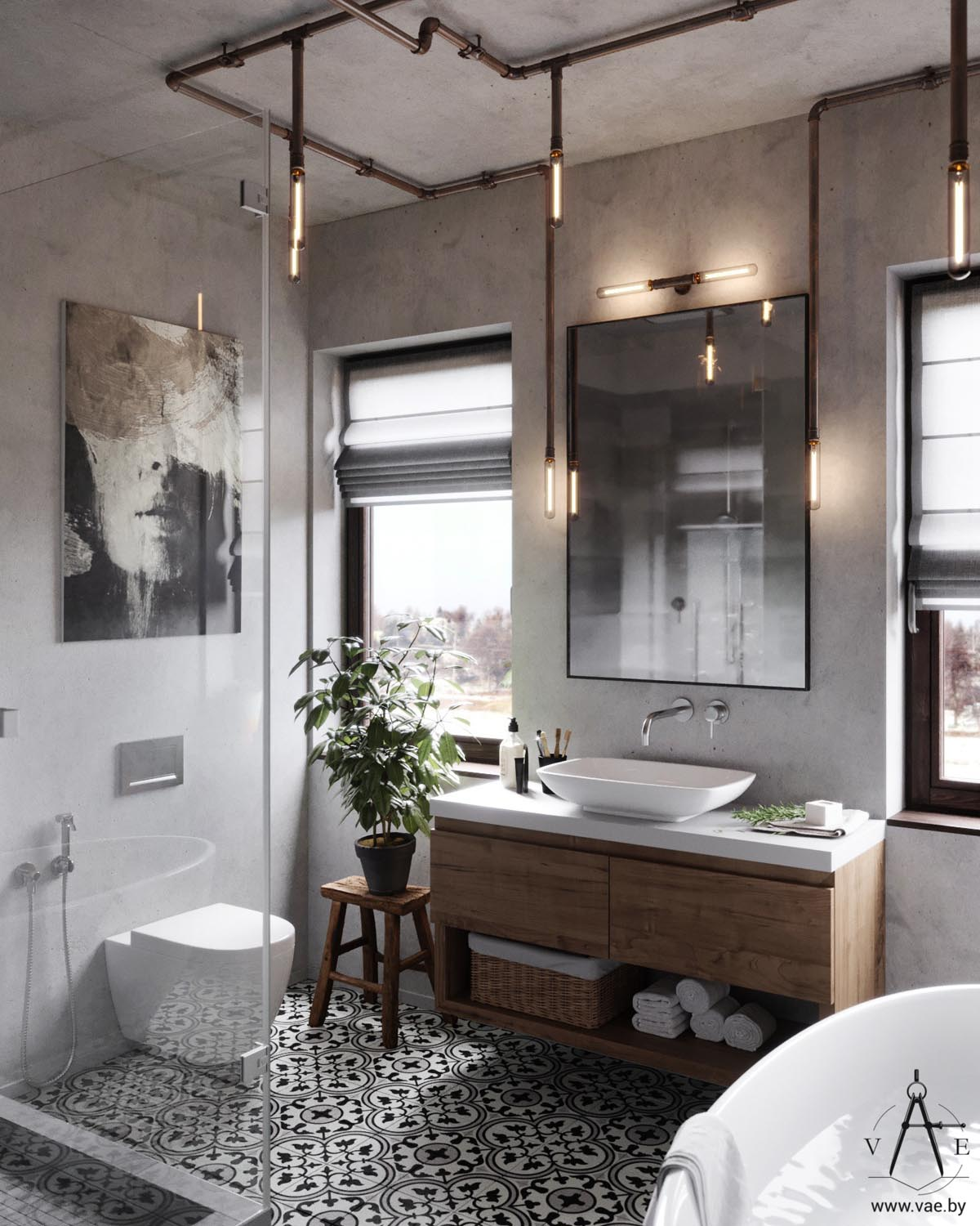 Warm industrial style house with layout interior for Industrial bathroom ideas