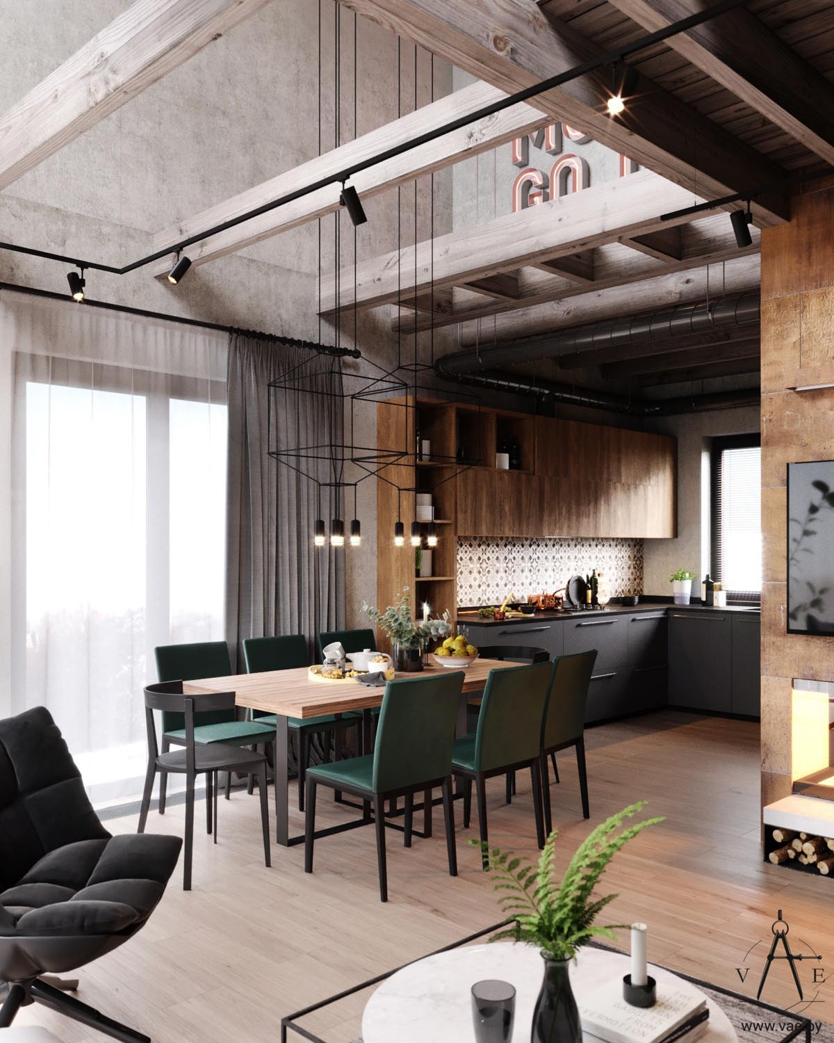 Warm industrial style house with layout for Warm industrial decor