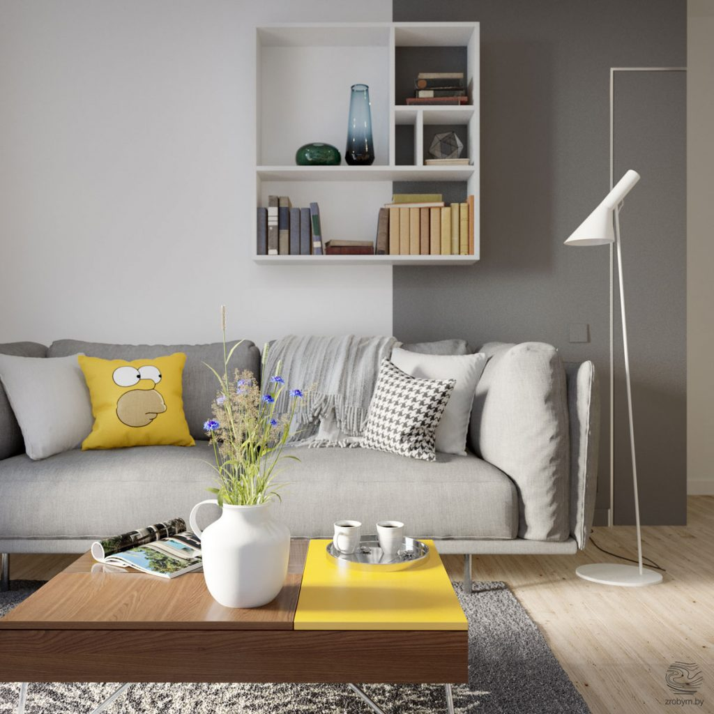 Apartment Living Room: Grey And Yellow Open Plan Small Apartment Tour