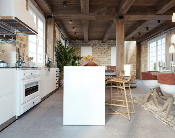 A white range cooker blends in with the white kitchen units
