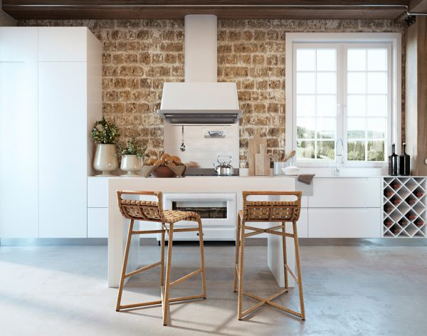 Sleek ice white units make up the kitchen coupled with a freestanding kitchen island at the central island two kitchen bar stools have been added in a