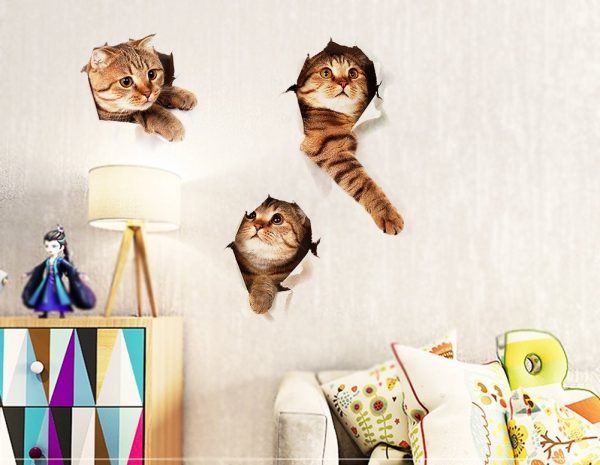 A litter of Moggie kittens in cups Canvas Art Cheap Wall Print Home Interior