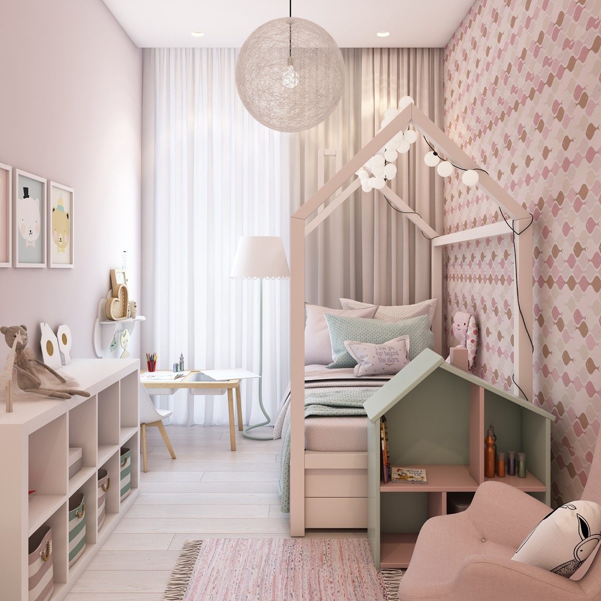 how to use pink tastefully in a kid 39 s room without over. Black Bedroom Furniture Sets. Home Design Ideas