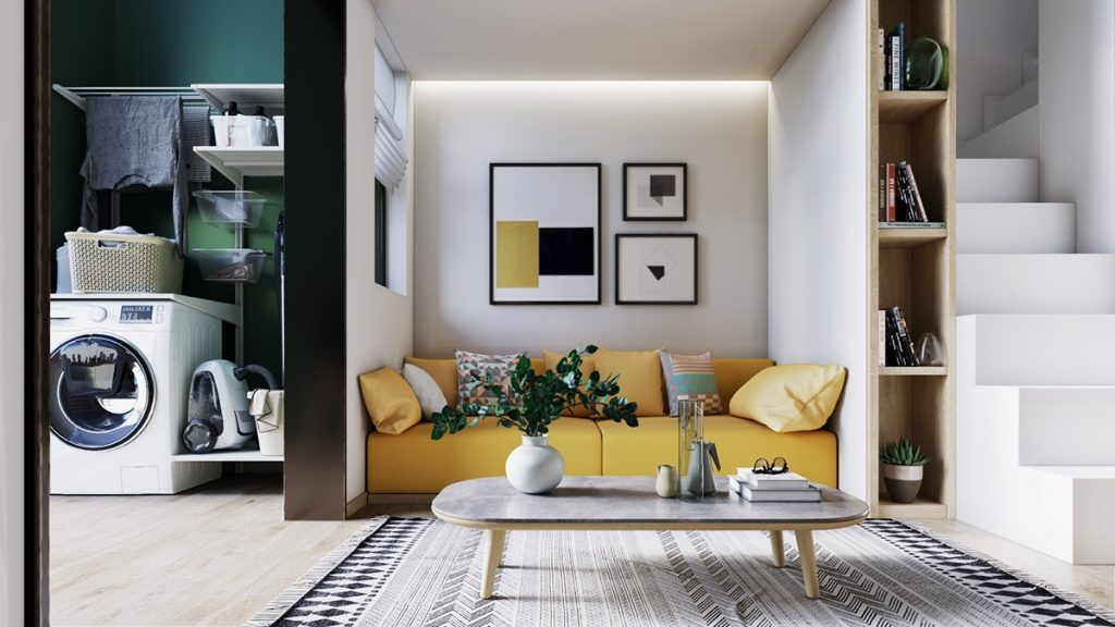 Yellow accents in scandinavian style interiors 3 examples that show you how for Interior design apartment living room