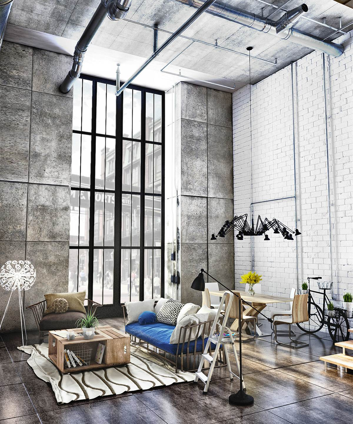 40 Stylish Living Rooms That Use Concrete To Stand Out images 24