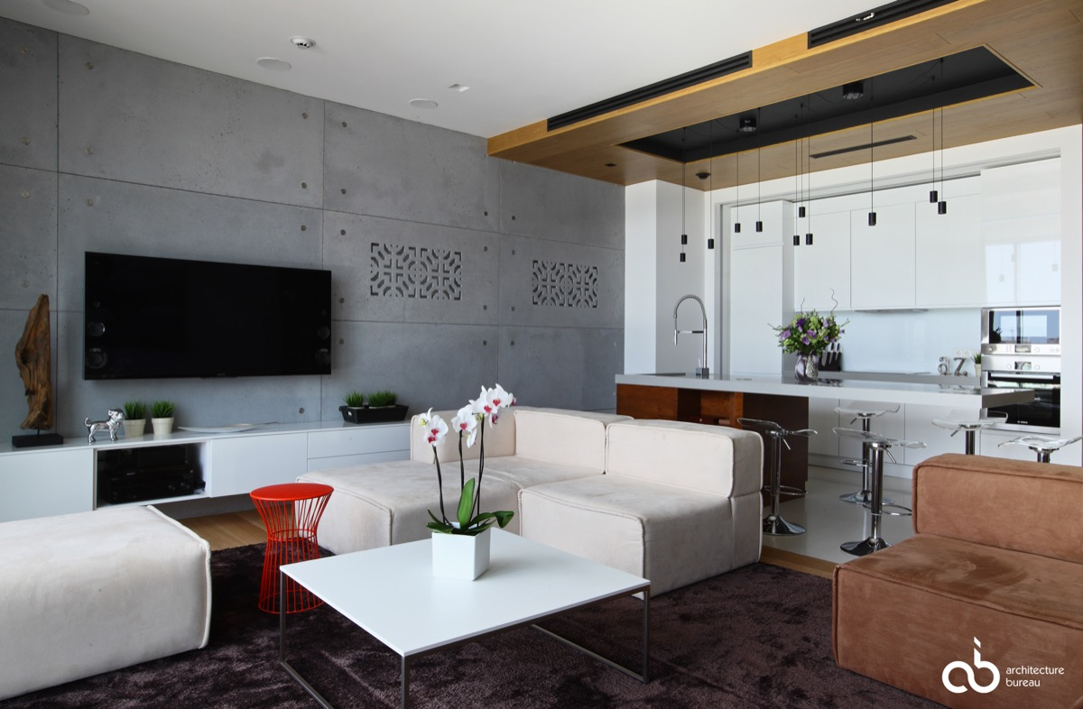 40 Stylish Living Rooms That Use Concrete To Stand Out images 6