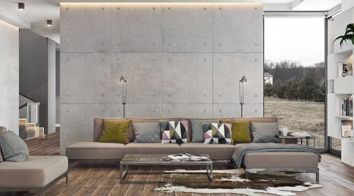 40 Stylish Living Rooms That Use Concrete To Stand Out images 5