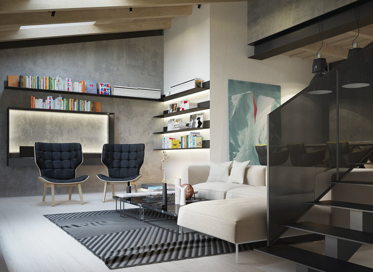 40 Stylish Living Rooms That Use Concrete To Stand Out images 18