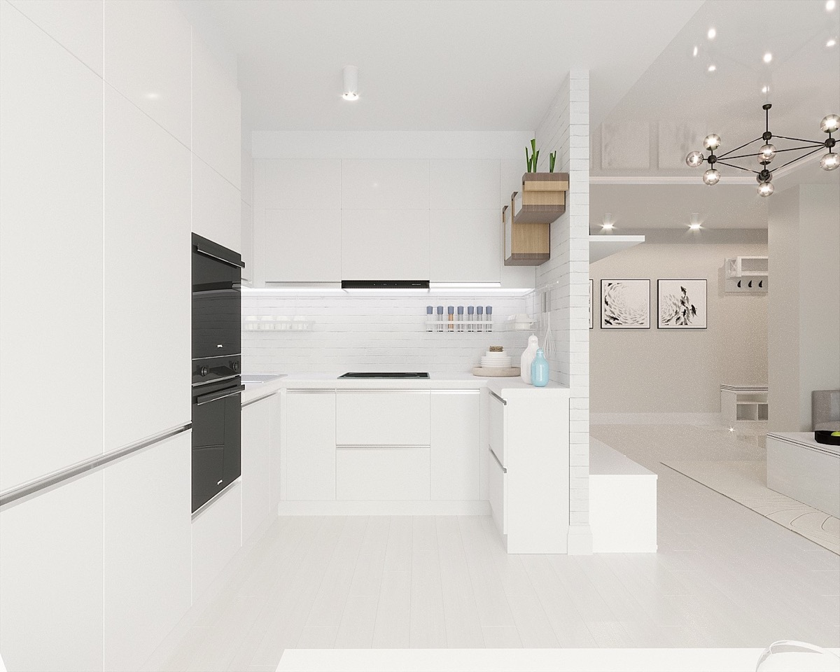 15 visualizer marina selivanova but a white minimalist kitchen with high shelves and black appliances
