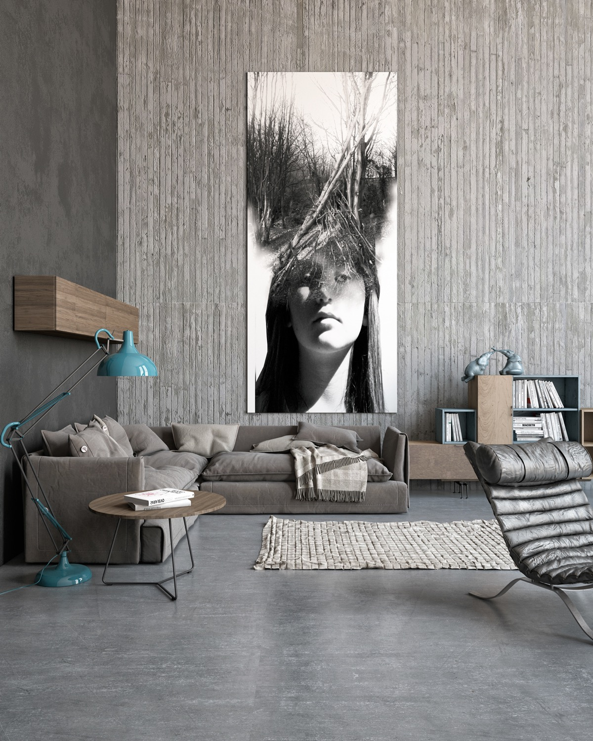 40 Stylish Living Rooms That Use Concrete To Stand Out images 26