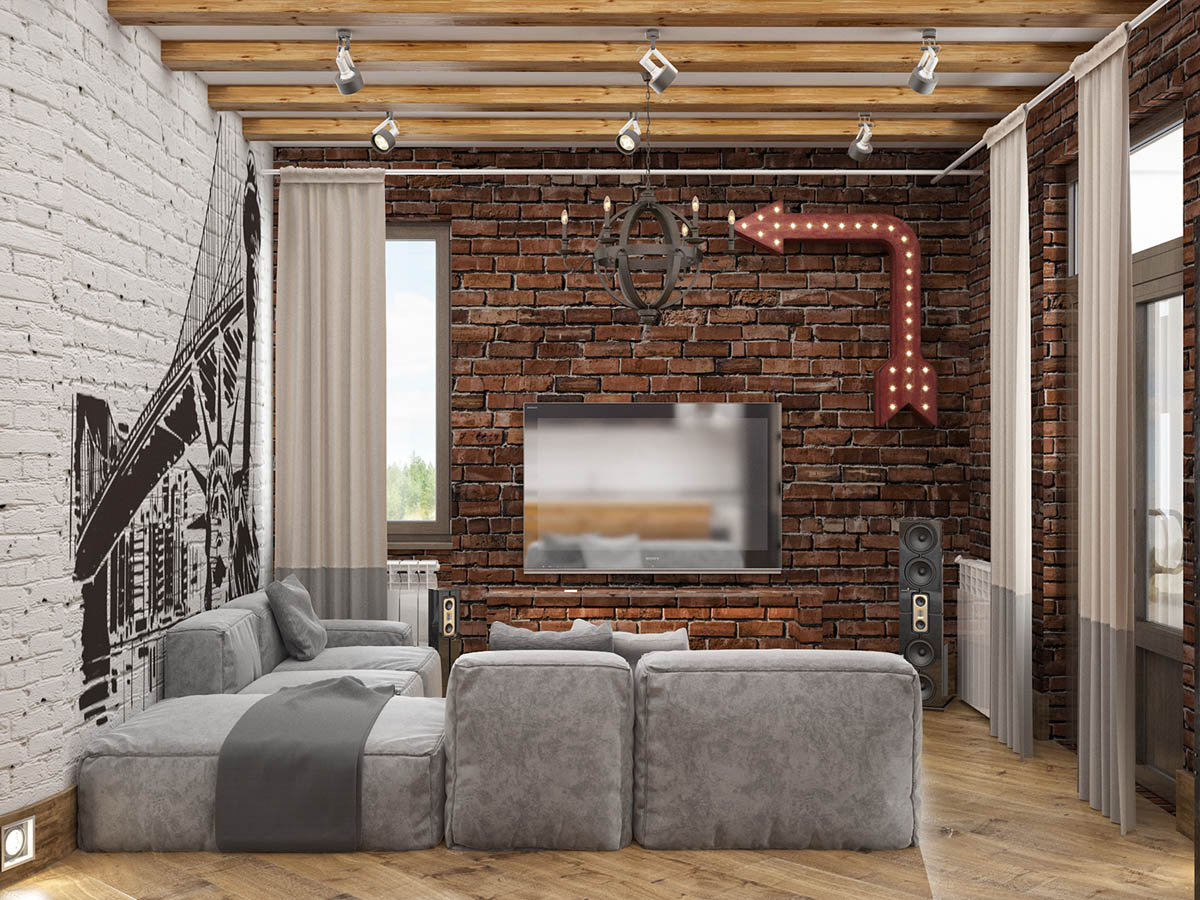 Rich Industrial Style Unites Jewel Colours with Exposed Brick Walls images 32