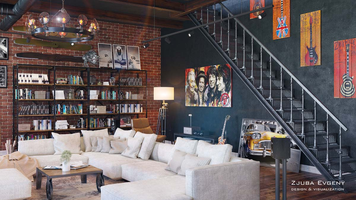 Rich Industrial Style Unites Jewel Colours with Exposed Brick Walls images 15