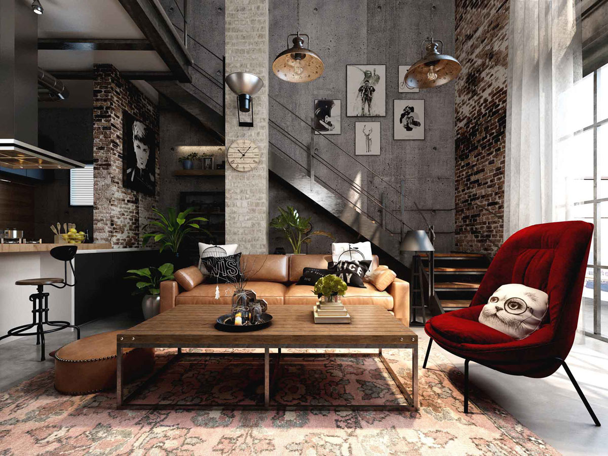 Rich industrial style unites jewel colours with exposed for Home interior decorating