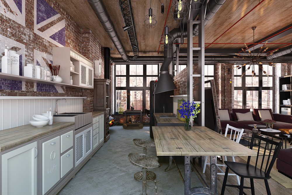 Rich Industrial Style Unites Jewel Colours with Exposed Brick Walls images 22