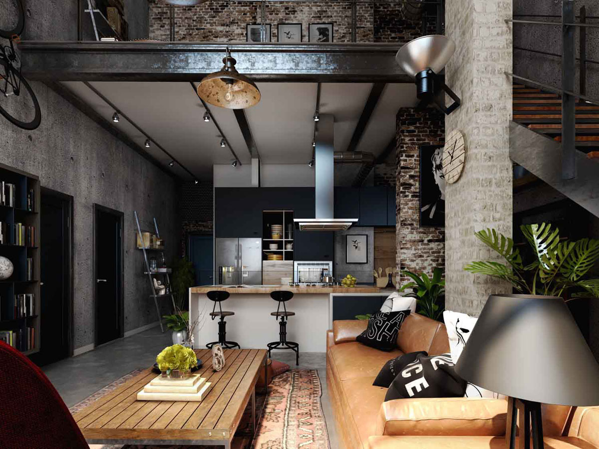 Rich Industrial Style Unites Jewel Colours with Exposed Brick Walls images 4
