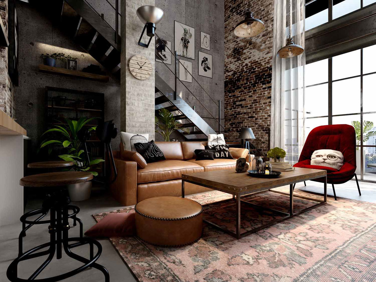 Rich Industrial Style Unites Jewel Colours with Exposed Brick Walls images 2