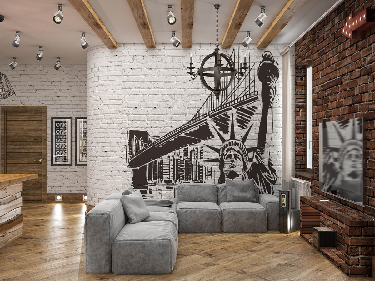 Rich Industrial Style Unites Jewel Colours with Exposed Brick Walls images 33
