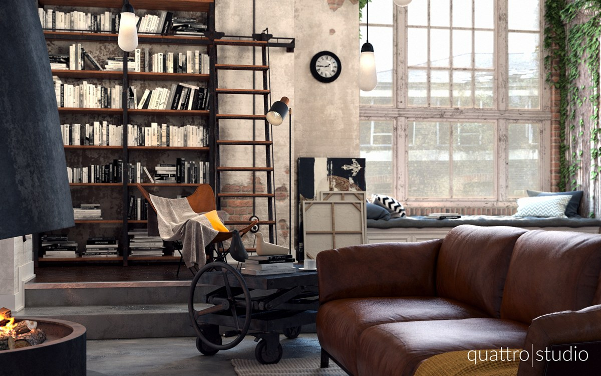 Rich Industrial Style Unites Jewel Colours with Exposed Brick Walls images 11