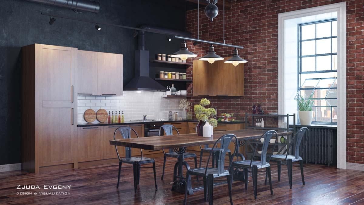 Rich Industrial Style Unites Jewel Colours with Exposed Brick Walls images 18