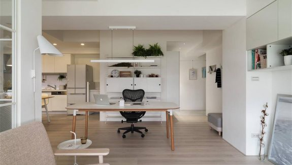 Completely White Apartment With Dominant Central Endangering Office