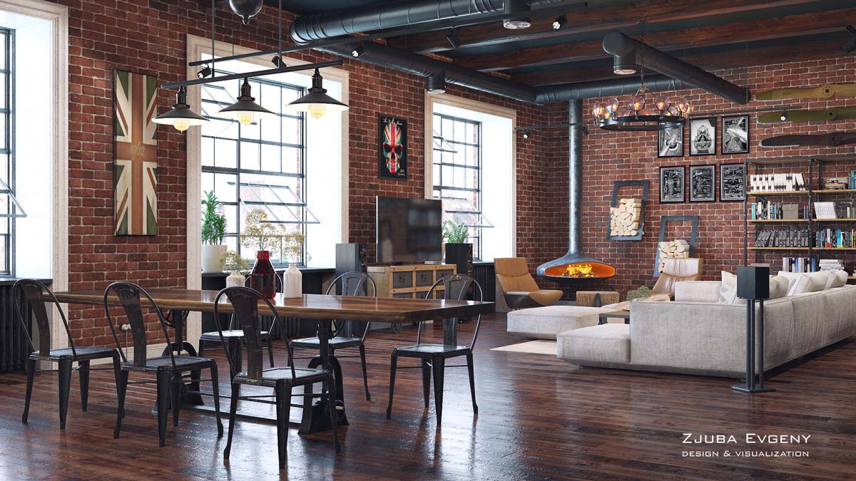 Rich Industrial Style Unites Jewel Colours with Exposed Brick Walls images 16