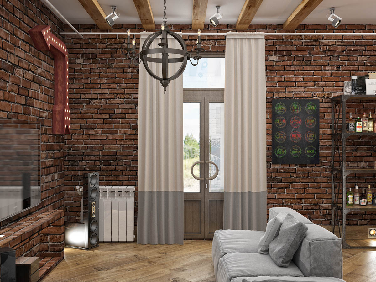 Rich Industrial Style Unites Jewel Colours with Exposed Brick Walls images 34