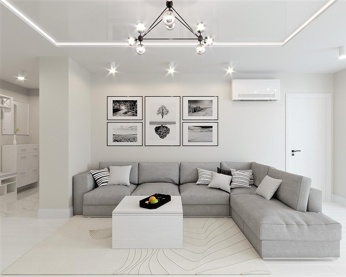 White grey interior design in the modern minimalist style Modern white furniture for living room