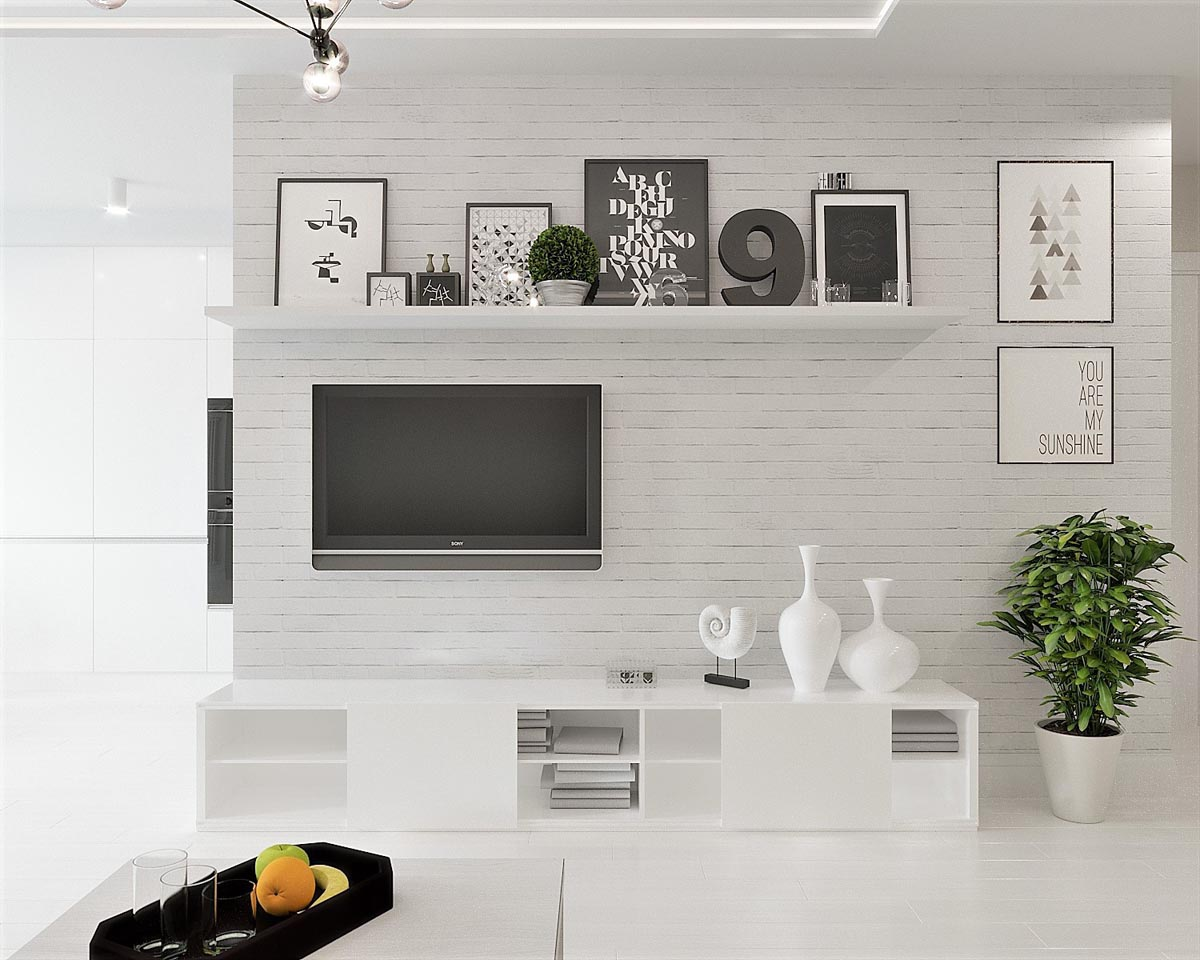 White & Grey Interior Design In The Modern Minimalist Style images 20
