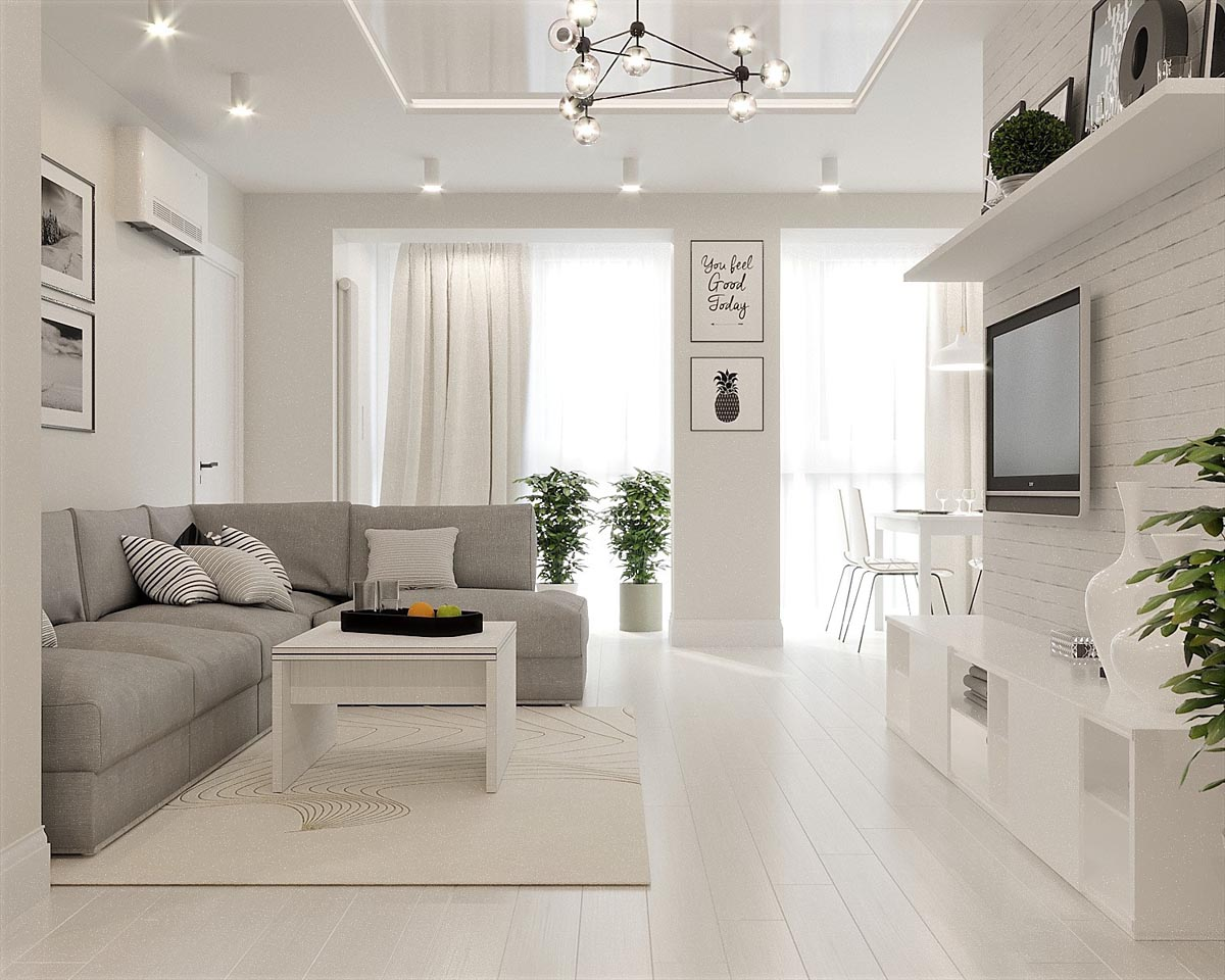 White & Grey Interior Design In The Modern Minimalist Style images 19