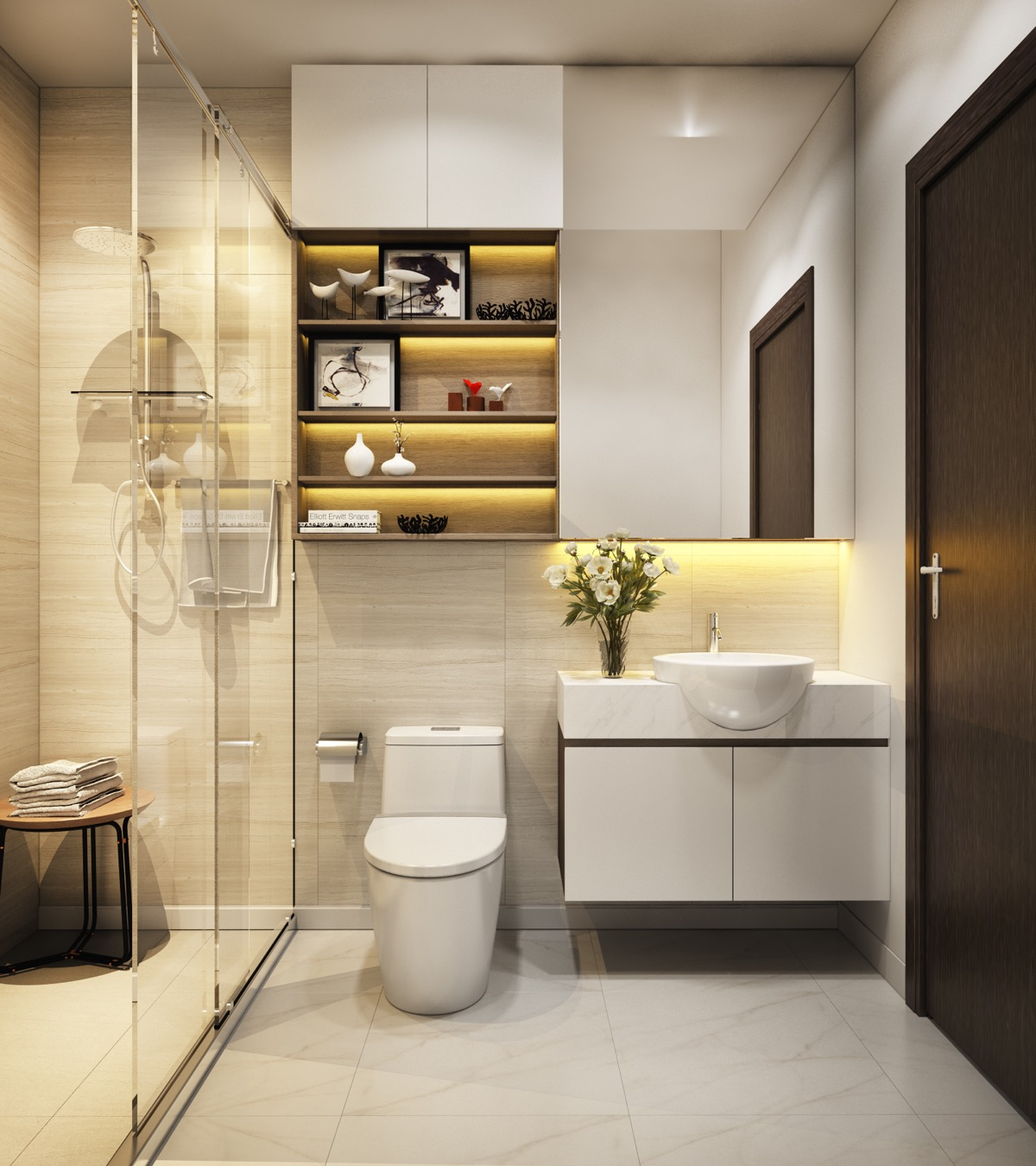 Modern bathrooms create a simplistic and clean feeling. In order to design your modern bathroom make sure to utilize geometric shapes and patterns, clean lines, minimal colors and mid-century furniture. Your bathroom can effortlessly become a modern sanctuary for cleanliness and comfort.