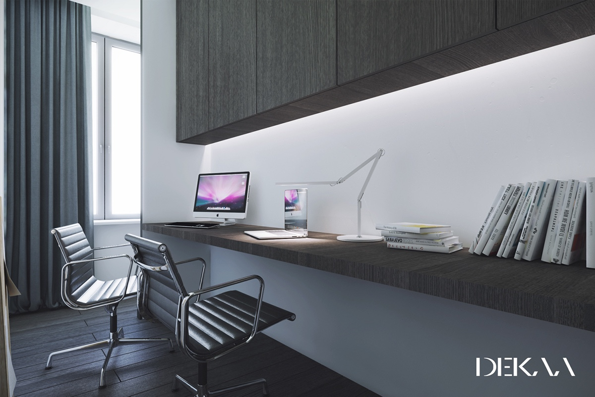 White & Grey Interior Design In The Modern Minimalist Style images 4