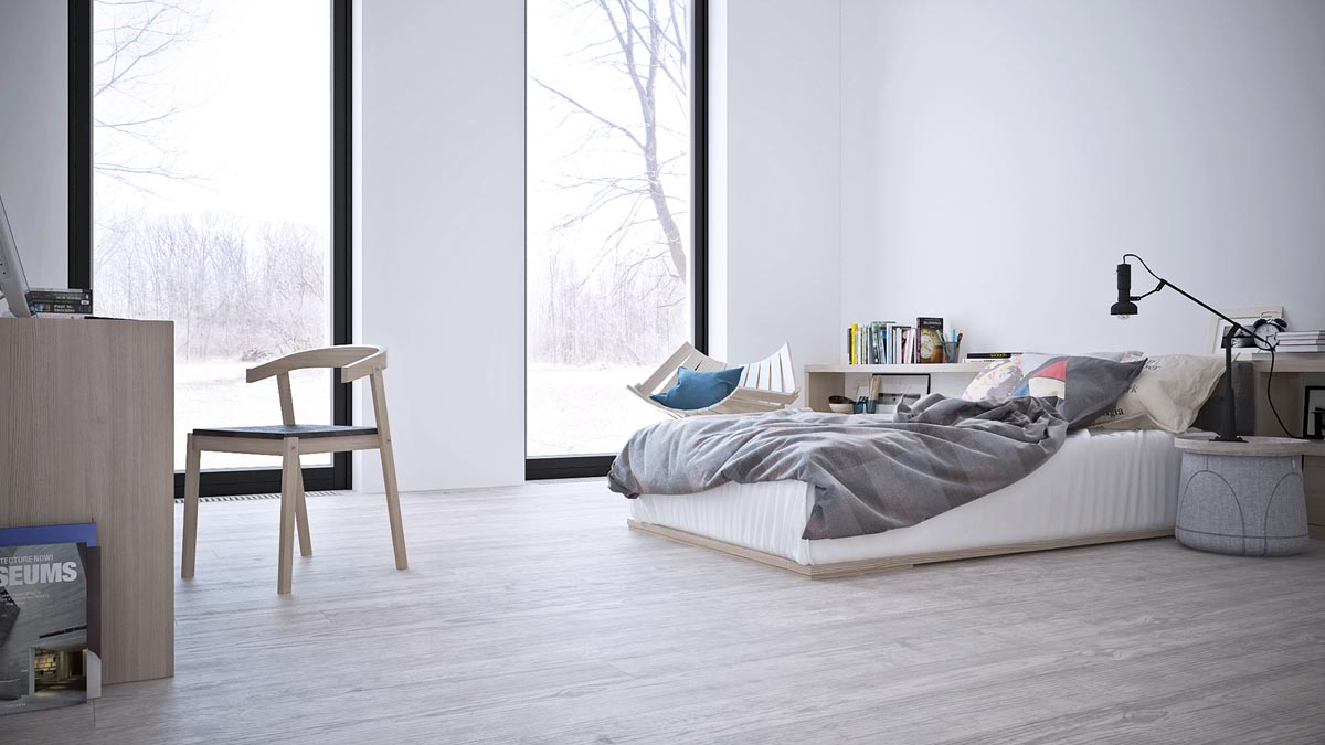 White & Grey Interior Design In The Modern Minimalist Style images 11