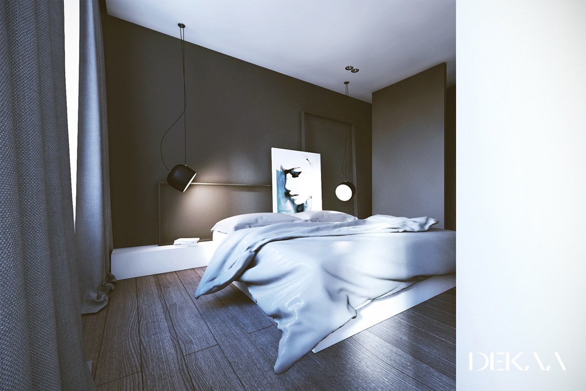 White & Grey Interior Design In The Modern Minimalist Style images 5