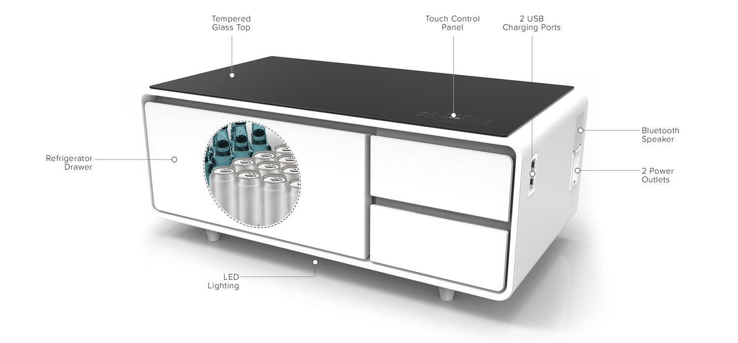 product of the week a hi tech coffee table with built in refrigerator. Black Bedroom Furniture Sets. Home Design Ideas