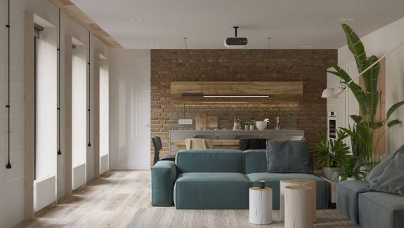 White Walls And Exposed Brick Go Minimalist In This Coupleu0027s Retreat