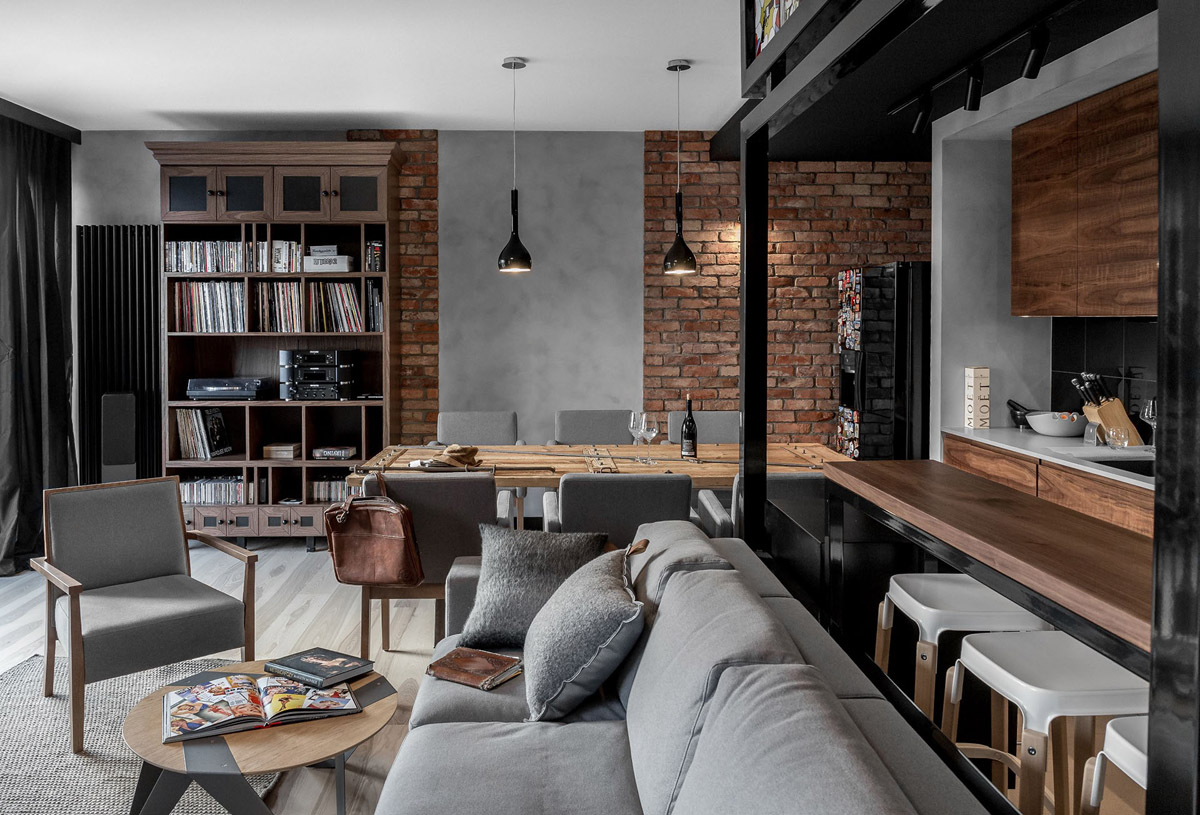 Three Homes Using Exposed Brick, Wood Panelling and Grey To Their Advantage images 20
