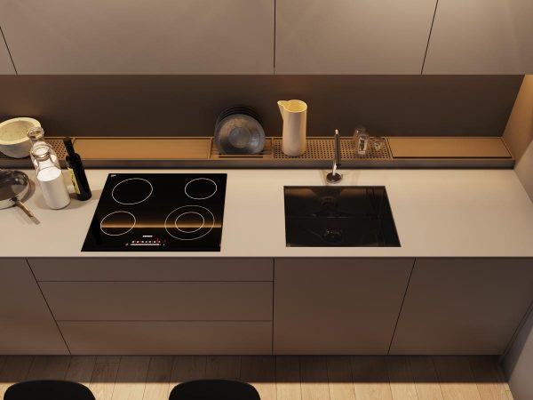 The minimalist kitchen has a cool dish draining feature that is set back from the kitchen counter existing as a separate entity that runs the entire length