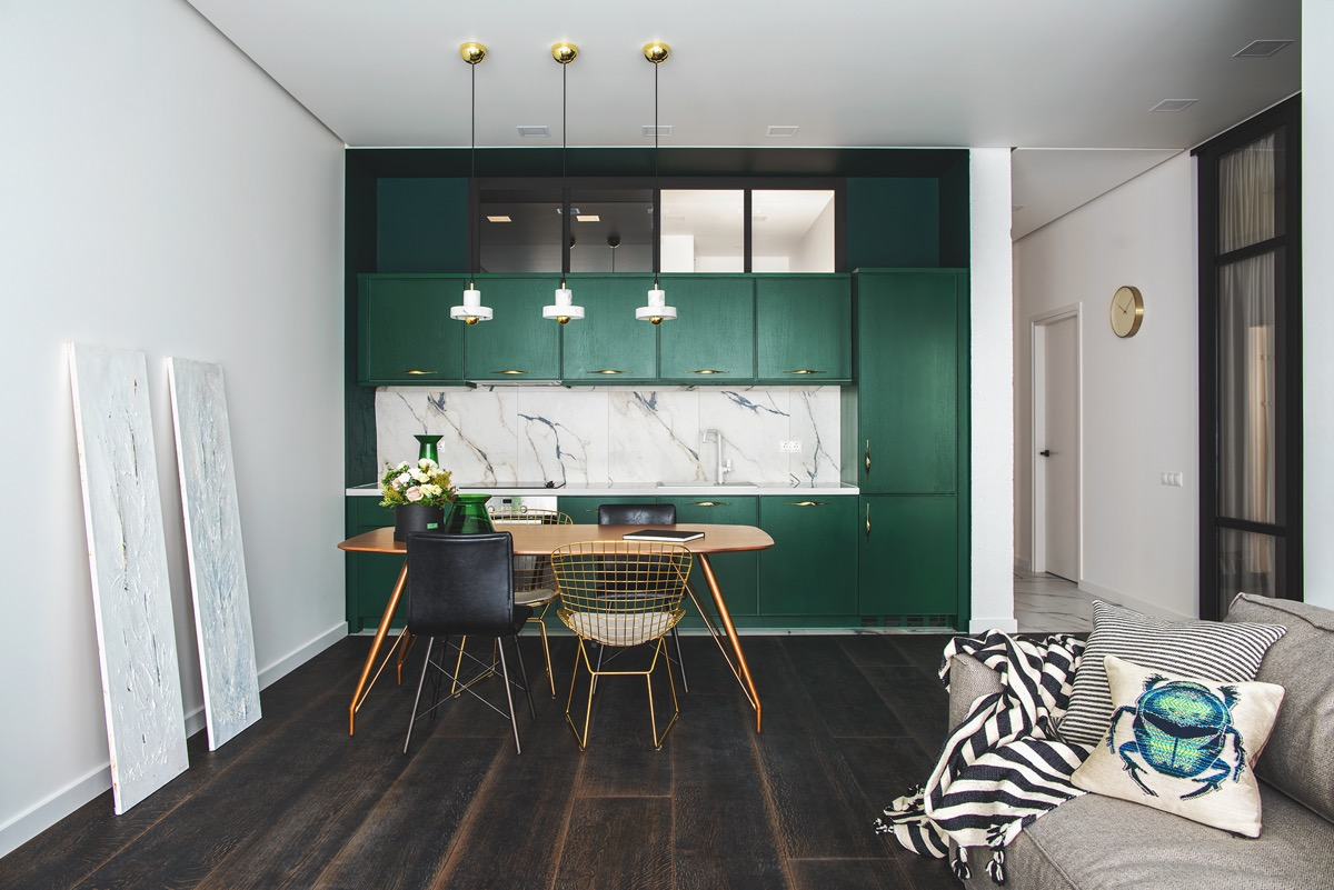 Green and gold interior with modern eclectic vibe for Olive green dining room ideas