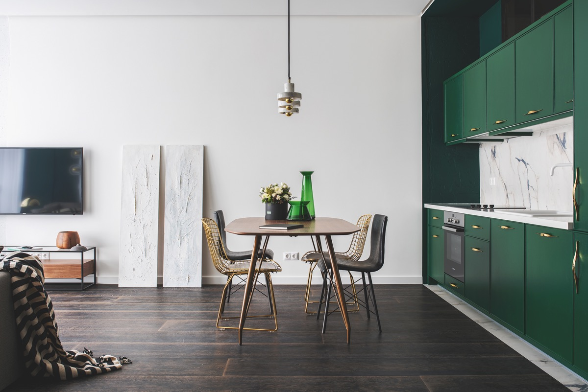 Green and Gold Interior With Modern Eclectic Vibe [Includes Floor Plans] images 6