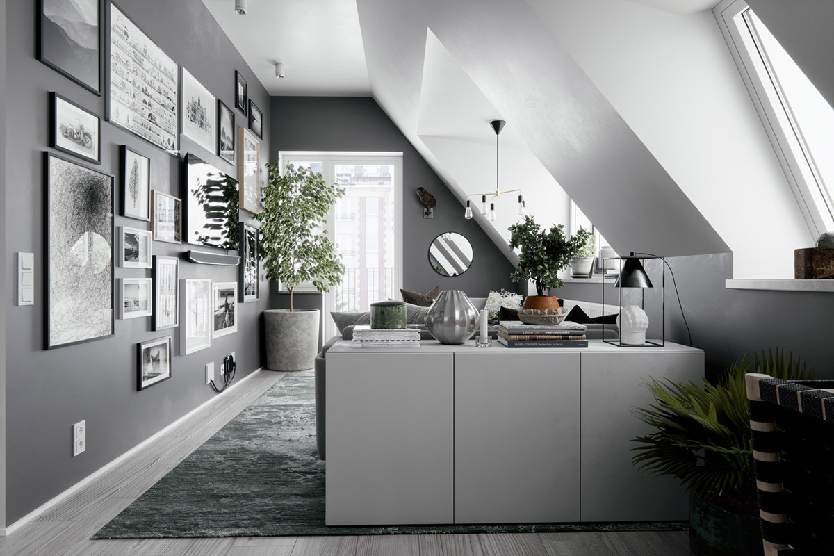 2 Gorgeous Attic Apartments That Use Grey As Base images 2